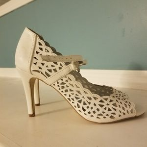 White laced heels